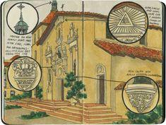 The restored facade of Mission Santa Clara, CA.