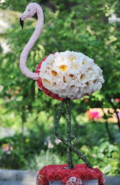Elaborate floral animal sculpture centerpieces
