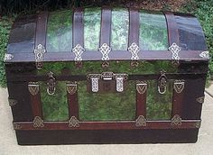Steamer trunk with emerald green colors                                                                                                                                                                                 More