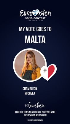 Eurovision 2019 Instagram template by @luceslusia - My vote goes to Malta Malta, I Voted, Son Luna, Videos, Templates, Songs, Photo And Video, Instagram, Pictures