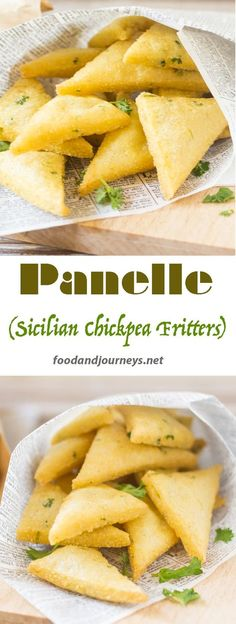 Italian | Street food | Sicilian | Palermo | Snack | Appetizer | Vegetarian. Panelle (Sicilian Chickpea Fritters).  A popular Sicilian street food that can also be served as an appetizer or a sandwich.  They're made of chickpeas, so they're good for vegetarians too!