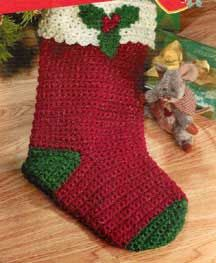 "Holly Stocking LW1409 | Free Patterns slightly different, 19 ½"" long."