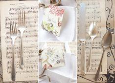 Sheet music wedding table setting