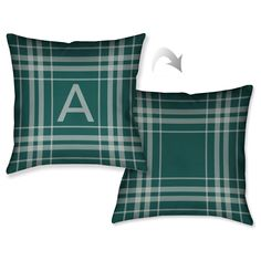 Laural Home Plaid Green Monogram Decorative Throw Pillow (18 inches x 18 inches) (X), Size 18 x 18
