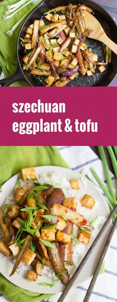 This melt-in-your-mouth Szechuan eggplant is pan fried, coated in a garlicky sweet-spicy sauce and served with crispy tofu over a bed of rice. The Effective Pictures We Offer You About tofu recipes ea Eggplant Tofu Recipe, Eggplant Dishes, Eggplant Recipes, Tofu Recipes, Asian Recipes, Vegetarian Recipes, Cooking Recipes, Healthy Recipes, Szechuan Eggplant Recipe