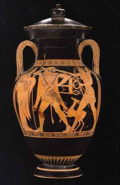 Anfora attica a figure rosse del Pittore di Geras con Eracle e Apollo che lottano per il tripode di Delfi, 480-470 a.C., già Malibu, Getty Museum, ora Roma, Museo nazionale di Villa Giulia