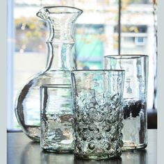 Syrian drinking glass set was handblown from recycled materials
