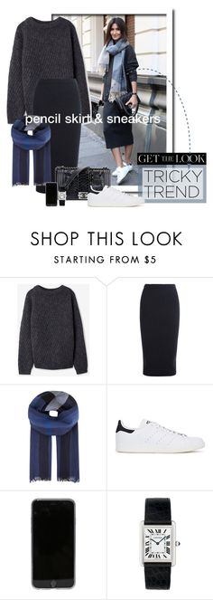 """Tricky Trend: Pencil Skirts & Sneakers"" by maxfield ❤ liked on Polyvore featuring Acne Studios, Iris & Ink, Burberry, Chanel, adidas Originals, Cartier, women's clothing, women's fashion, women and female"