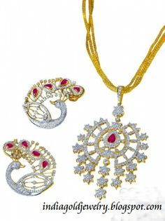 Latest Indian Gold and Diamond Jewellery Designs: Diamond Pendant and Peacock design Diamond ear rings from Reliance Jewels