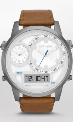 EXTRA LARGE ANALOG AND DIGITAL LEATHER STRAP WATCH from EXPRESS