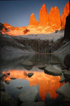 Sunset, Nature • Landscape. beautiful Torres  - Chile