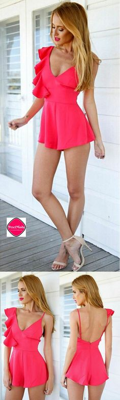 New Hot Pink Backless Romper. Get Additional 10%Off your first order at www.pescimoda.com Shipping all over United States. #WomensFashion #FashionForTeens #Outfits #OutfitsForTeens #SummerFashion #Fashion2016 #ChicFashion #EverydayOutfits #HippieStyle #St