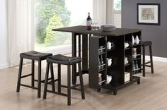 The multi functional Aurora Pub Table Set combines casual dining furniture with convenient additional cabinetry for an all-around spectacular breakfast nook table, dining room table, or kitchen table. On one end of the table, a cabinet base provides open shelving as well as two hinged cabinet compartments concealing a bevy of additional repositionable shelves for storage of anything from extra silverware and napkins to pantry staples, spices, and more. We think the Aurora Pub Table is…