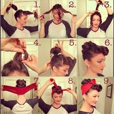 vintage or Lucille Ball updo hairstyle - too cute