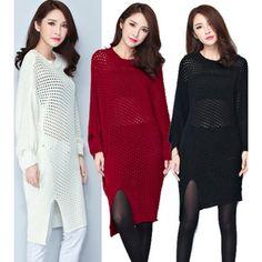Sexy Fashion Hollow Out Knit Long Sleeve Dress ($13.5) http://www.clubwholesale.net/women/sweaters