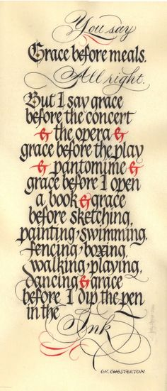 """Grace"" by Jody Meese at Mil Plumas Calligraphy; 8"" x 18"" on Pergamanata Paper;  Quote by G.K. Chesterton"