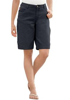 Plus Size Shorts, in stretch denim with 5-pockets and cuffs