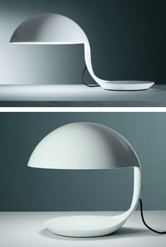 Martinelli Luce: Elio Martinelli Cobra Table Lamp in White | NOVA68 Modern Design