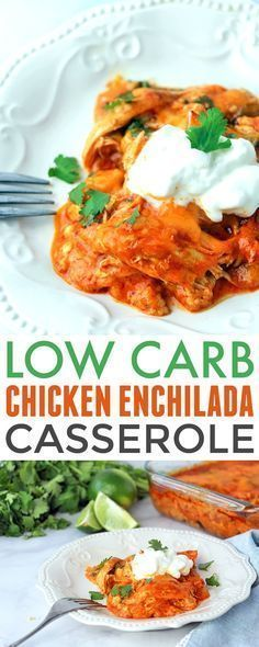 Low Carb Chicken Enchilada Casserole - easy and delish way to enjoy enchiladas on a low carb or keto diet. It's based off the America's Test Kitchen Chicken Enchiladas so you know it's good! #Jamieslowfatlowcarbrecipes