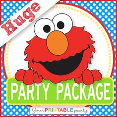 ELMO Party Package  -  PERSONALIZED - Print Yourself . by Your Printable Party. Via Etsy.