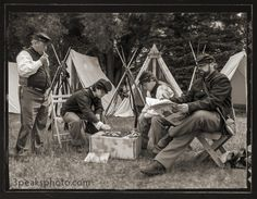 """Meanwhile, Back at Camp   I know it's hard to believe that this photo wasn't taken back in 1863. It was taken a few years ago at Rock Ledge Ranch in Colorado Springs. This is a Civil War re-enactment group that used to camp out at the ranch for a couple of days to build up to the July 4th celebration that featured """"Abraham Lincoln"""" giving the Gettysburg Address."""