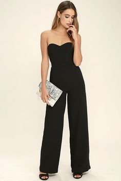 461d9fc3f52 Let the Pop Life Black Strapless Jumpsuit be your new dance partner! Medium -weight