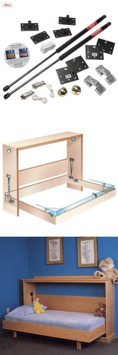Fold Down Bed Mechanism - Side Mount Twin, Perfect for small rooms and apartments! Make your own folding bed using our hardware. Hardware includes plan for making basic box construction Folding Furniture, Folding Beds, Smart Furniture, Space Saving Furniture, Furniture Design, Furniture Ideas, Ikea Furniture, Small Rooms, Small Spaces