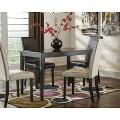 Kimonte Rectangular Dining Room Table Wood Brown Signature