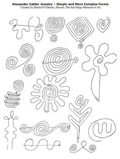 Line drawing of Calder jewelry forms.