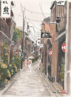 京都 祇園の花見小路を歩いている舞妓さんを描きました。 京都らしい町並みと日傘をさした舞妓さんが風情をだしています。 お部屋に京都の趣を感じませんか。 *イー... ハンドメイド、手作り、手仕事品の通販・販売・購入ならCreema。