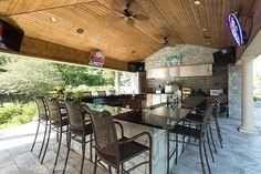 Contemporary Porch with Fence, Eldorado Stone Fieldledge Andante, Outdoor kitchen, Wrap around porch, exterior tile floors