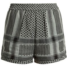 Cecilie Copenhagen  High-rise scarf-jacquard cotton shorts (270 BRL) ❤ liked on Polyvore featuring shorts, jacquard shorts, loose shorts, highwaist shorts, high-waisted shorts and high rise shorts