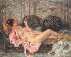The Opium Smoker - Kimon Loghi century Pin Up, Classic, Painting, Vintage, Art, Women, Derby, Art Background, Painting Art