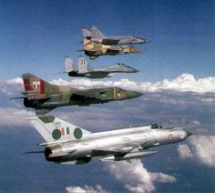 The MiG family! Indian Air Force MiG-25, MiG-27, MiG-29, MiG-23 and MiG-21 flying in formation. Only the MiG-21, MiG-27 and the MiG-29 remain in Indian service today.