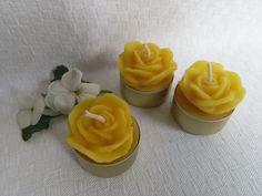 Kerzen - 3 Bienenwachs Teelichter ROSE, Aluschale gold - ein Designerstück von Imkerei-Hedi-Scheulen bei DaWanda