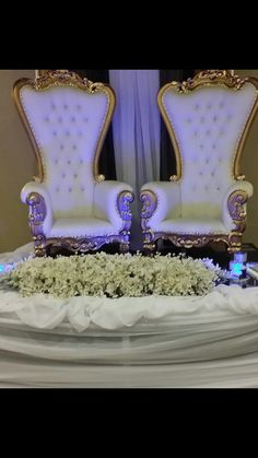 Thorn chairs with gold/silver accents.king and Queen wedding celebration. Theriot Events