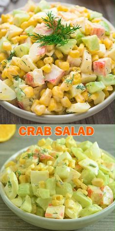 healthy dinner recipes videos Imitation Crab Salad quick and easy crab salad made with crunchy cucumbers, sweet corn, and hard-boiled eggs. Perfect for lunch, dinner, or o Appetizers For A Crowd, Seafood Appetizers, Seafood Recipes, Dinner Recipes, Cooking Recipes, Seafood Dinner, Dinner Ideas, Seafood Salad, Chicken Pasta Recipes