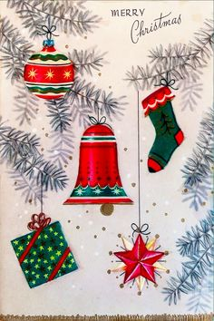 ~*~ Vintage 1940s UNUSED Christmas Card with Ornaments on a Tree ~*~