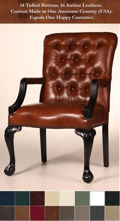The Lowell Chair is a leather masterpiece. The attention to detail and workmanship that went into this design is simply incredible. The plush back is tufted with 14 buttons, while the seat and back are adorned with hand-applied nailhead trim. Carved arms and ball-and-claw legs are available in your choice of finish. The applications for this chair are limitless. And best of all, it is available direct from our NC factory at a price unmatched for a chair of this quality.
