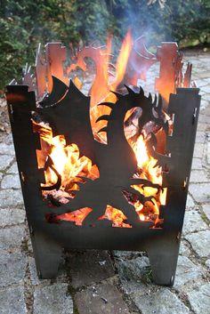 SvenskaV Feuerkorb / Feuersäule im eindrucksvollen Drachendesign L 30,5 x 32 x 4