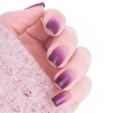 Fade into a wonderful purple ombre manicure using three beautiful essie nail polishes.
