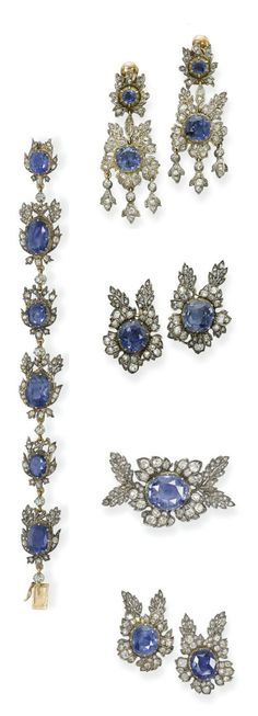 A SUITE OF ANTIQUE SAPPHIRE AND DIAMOND JEWELLERY   Of foliate design set throughout with old-cut diamonds and vari-cut sapphires, comprising a buckle, a bracelet, a brooch, a pair of clip brooches, a pair of ear pendants, a pair of ear clips, mounted in silver and gold, circa 1860