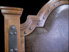 Handcrafted from solid alder wood and distressed to give it a more rustic look! Close up of our Silverton headboard! Lodge Furniture, Western Furniture, Custom Furniture, Bedroom Furniture, Western Bedding, Mountain Style, Furniture Making, Westerns, Door Handles