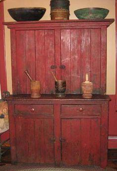Red Step back Cupboard. Circa 1875.