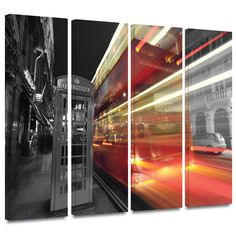 'London III' by Revolver Ocelot 4 Piece Photographic Print Gallery-Wrapped on Canvas Set