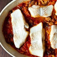 Roasted cod with linguica recipe on Food52