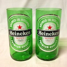Heineken Beer Bottle Tumbler Drinking Glasses. Recycled Glass Bottles. Green Glass. on Etsy, $10.00