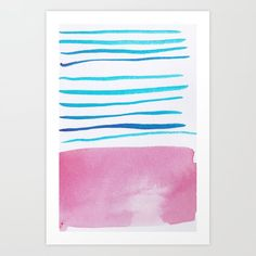 Lines & color block collection watercolor abstract modern watercolor ar Watercolor Art Paintings, Watercolor Brushes, Watercolor Artists, Abstract Watercolor, Tattoo Watercolor, Abstract Art, Art Prints For Home, Poster Prints, Blue Lines