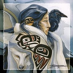 Shaman Woman with Raven and Wolf.By Artist Unknown. Native American Artwork, Native American Artists, American Indian Art, Native American Indians, American Air, Crow Art, Raven Art, Raven Totem, Tattoo Indien