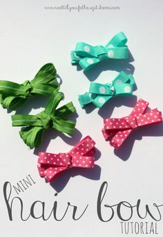 DIY:: Mini Hair Bow ! Perfect for any little girl ! And would be super cute in an Easter basket or as part of a fun gift as well.